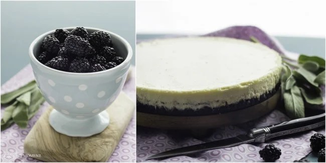 Blackberry Goat Cheese Cheesecake | Baking a Moment