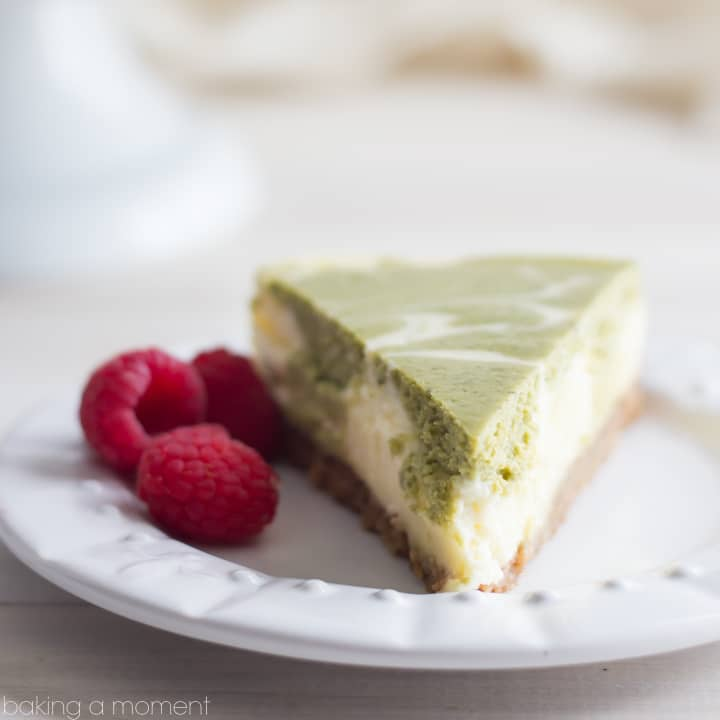 This cheesecake is so creamy-dreamy, and the green tea flavor is amazing with the spices in the crust!