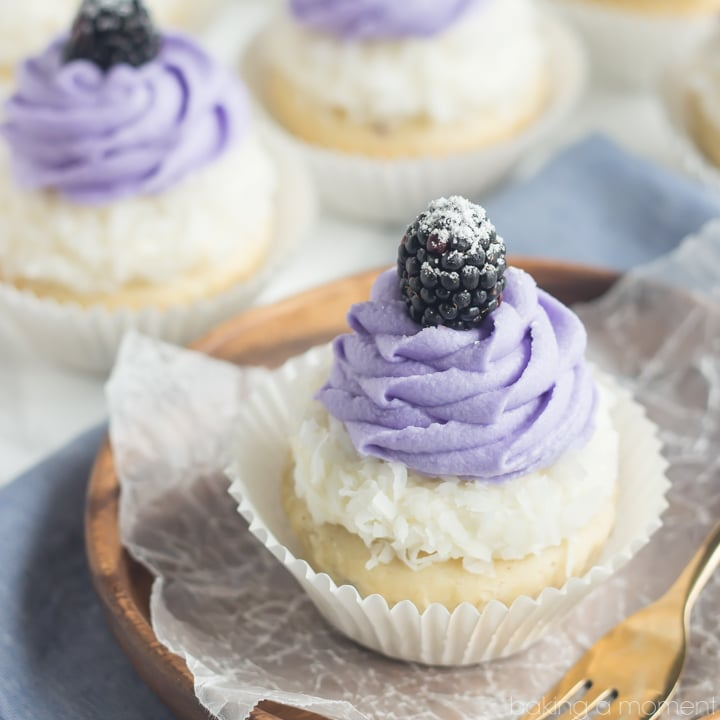 Blackberry Coconut Cupcakes- oh my!  So dreamy and light, and that blackberry filling was such a fun surprise!
