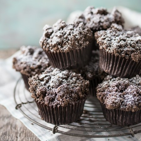 These chocolate muffins were so moist and chocolate-y! I was shocked that whole wheat and vegan could taste so indulgent. #ad