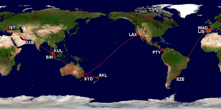 Great Circle Route Around the World