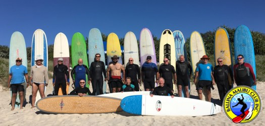 In memory of longboard wizard Midget Farrelly, who passed away in August 2016, Club Members posed for a group photograph. Thanks for everything Midget!