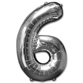 Number 6 Silver Jumbo Foil Balloon from Balloons Shop NYC