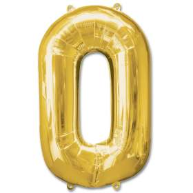 Number 0 Gold Jumbo Foil Balloon from Balloons Shop NYC