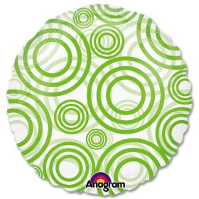 Circles Lime Green Clear Mylar 18 inch Balloon from Balloons Shop NYC