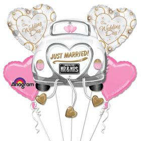 Just Married Wedding Car Balloon Bouquet from Balloons Shop NYC