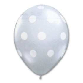 White Clear Latex Party Balloons Polka Dot 12 inch from Balloon Shop NYC