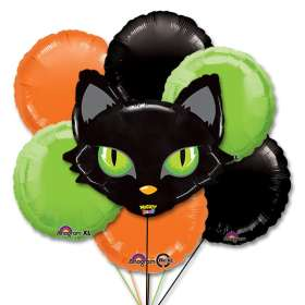 Halloween Mighty Cat Head Party Balloon Bouquet Inflated
