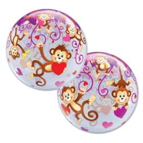 Love Monkeys Bubble Valentines Day Mylar Party Balloon from Balloon Shop NYC