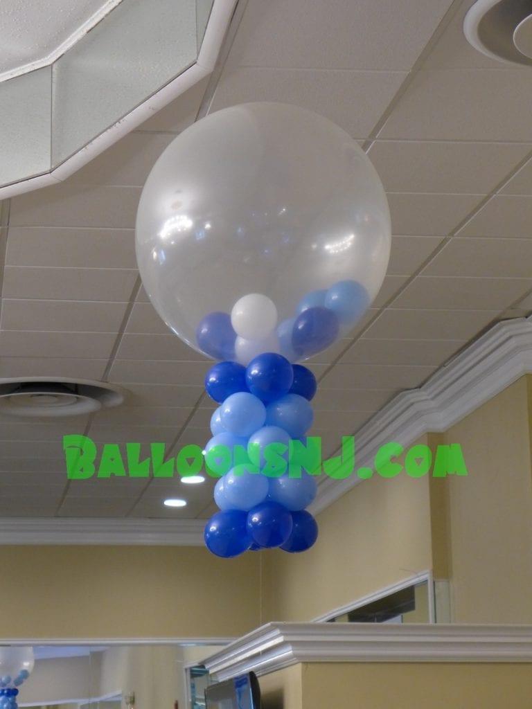 Stuffed balloon centerpiece blue balloonsnj
