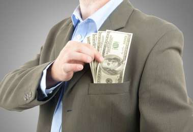 top pocket of suit stuffed with money