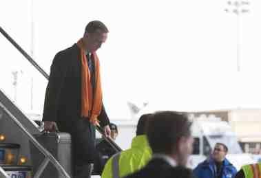 NEWARK, NJ - JANUARY 26, 2014: Denver Broncos' Peyton Manning arrives on United flight 1825 charter Boeing 767-400 plane at Newark Liberty International Airport for the NFL Super Bowl XLVIII football game