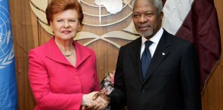 Shown here is former Latvian President Vaira Vike-Freiberga, a candidate for the post of UN Secretary-General in 2006, together with UN Secretary-General Kofi Annan. Vaira Vike-Freiberga was appointed the Secretary-General's Envoy on UN Reform and nominated by Estonia, Latvia, and Lithuania for the post of UN Secretary-General. UN Photo/ Mark Garten.