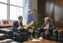 Secretary-General Ban Ki-moon (left) meets with António Guterres, Secretary-General-designate.