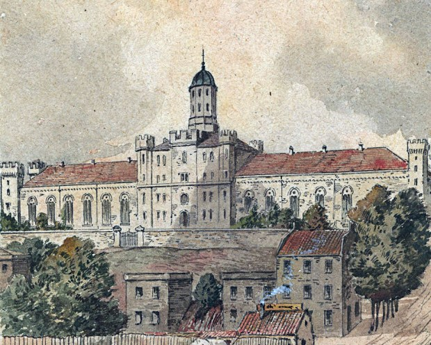 View of the City Jail, c. 1855-1860. Courtesy Enoch Pratt Free Library, mdcp030.