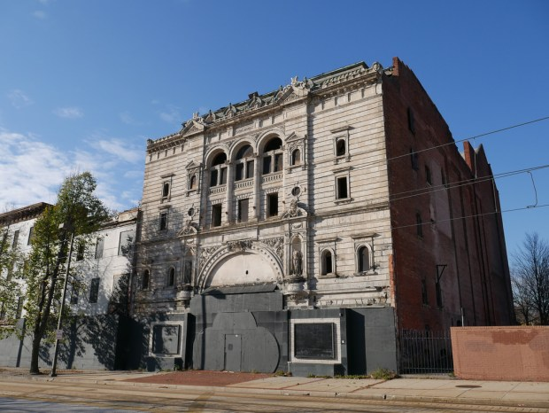 View of the Mayfair Theatre before the demolition of the adjoining Franklin-Delphy Hotel, November 24, 2015.