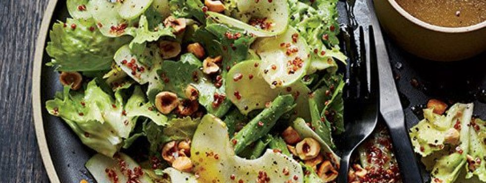 Escarole Salad with Red Quinoa, Apple and Hazelnuts
