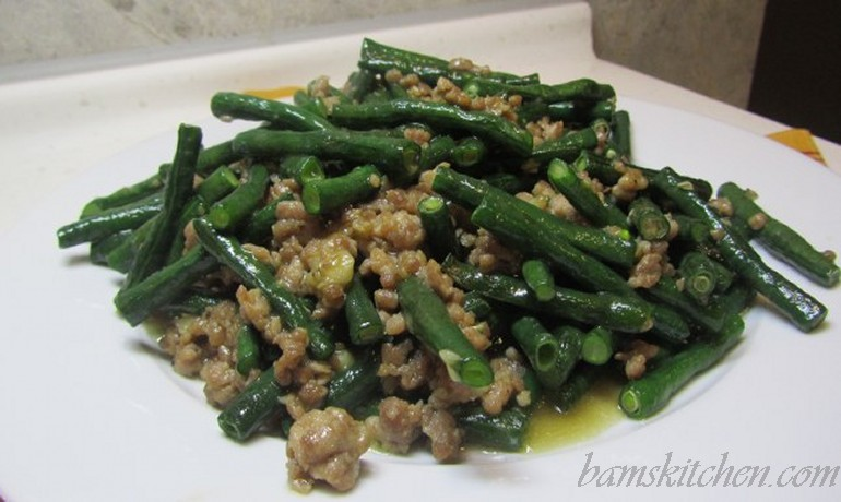 Chinese long beans and minced pork