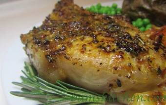 Rosemary herbed pork chops with shallot wine sauce
