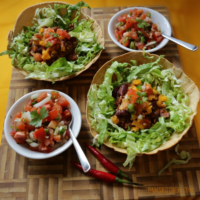 Chili taco salad bowls are crunchy, filling, healthy and are a ...