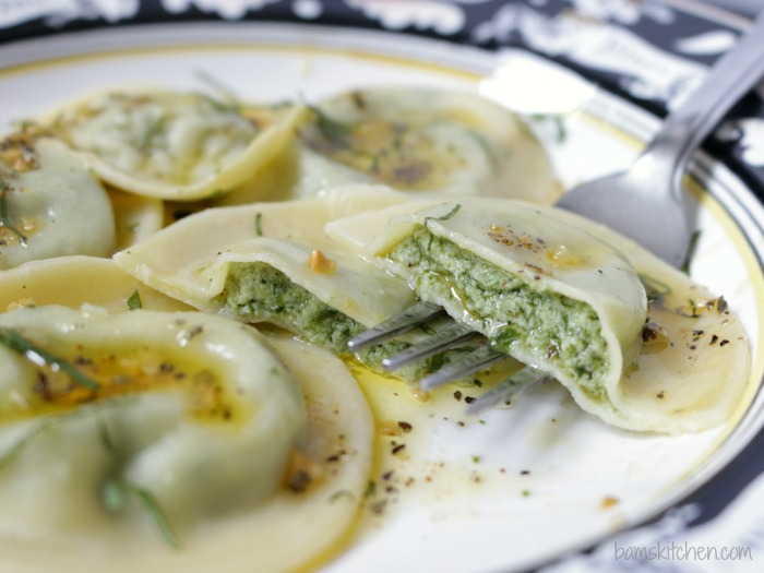 these delightful three Cheese Spinach Ravioli and Sage Butter Sauce ...