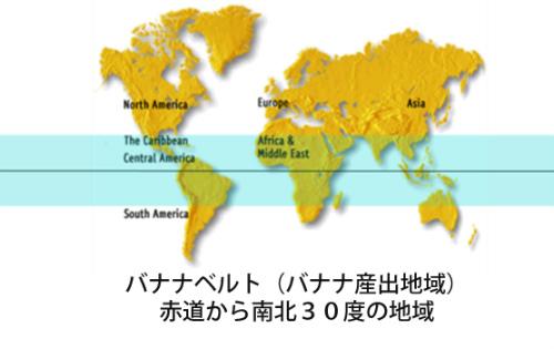 バナナベルト(バナナ産出地域)赤道から南北30度の地域