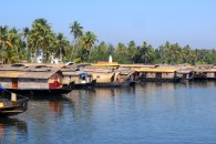 House boat parking station in Alleppey