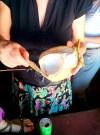 Eating fresh coconuts