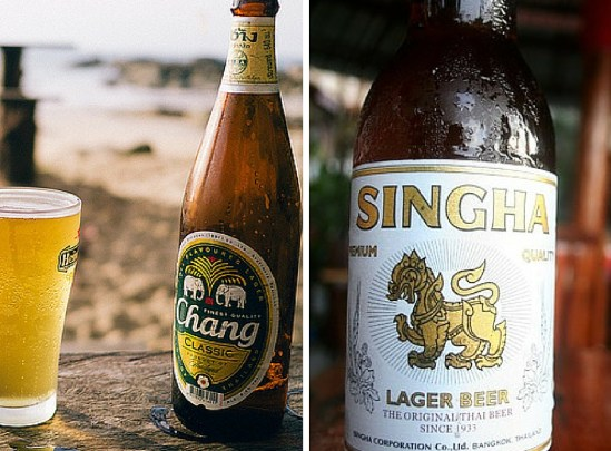 Chang and Singha Beer