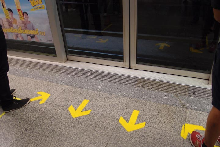 Queueing arrows painted on the floor