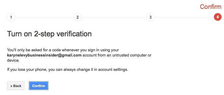 2 step verification gmail 5 cnfrm