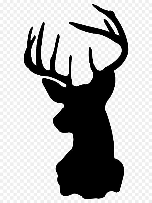 Medium Of Reindeer Head Silhouette