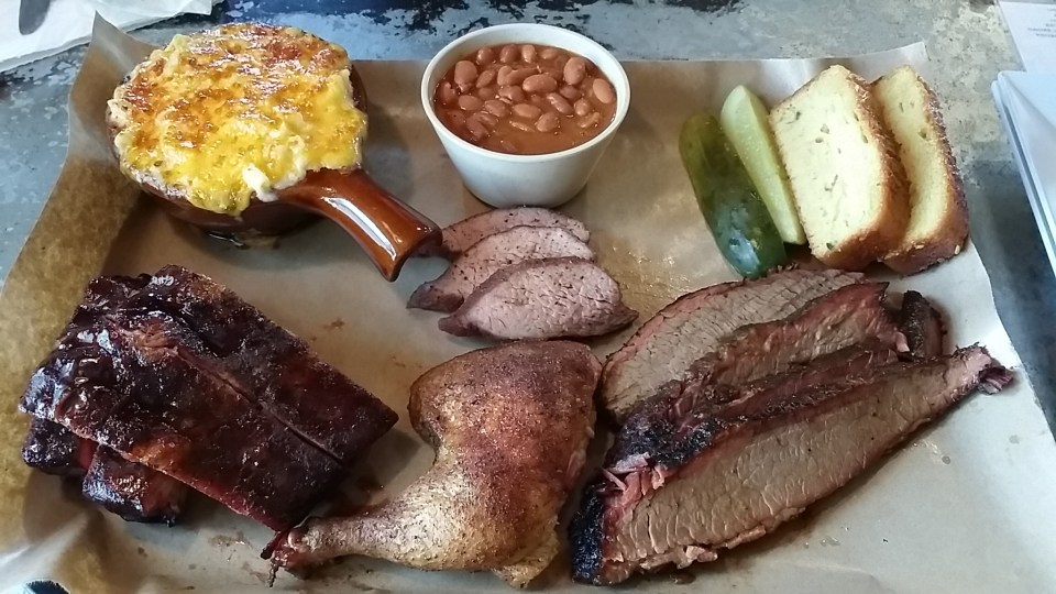 Sample platter of their meats, mac, beans and cornbread.