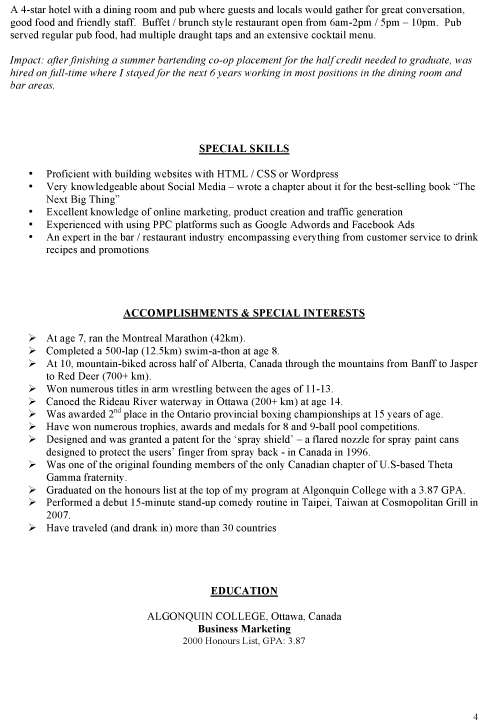 28+ [ Barback Resume Sample ] | Barback Resume Objective Sample ...