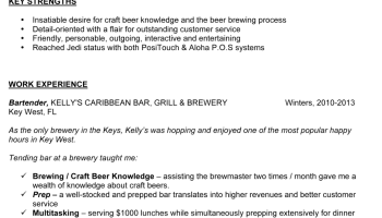 sample bartender resume professionally written - Bar Resume Examples