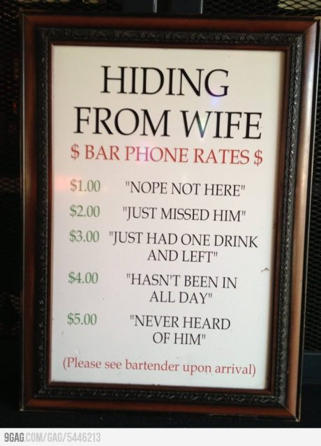 bar humor - hiding from wife bar rates
