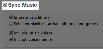 iTunes Sync Music Checkbox