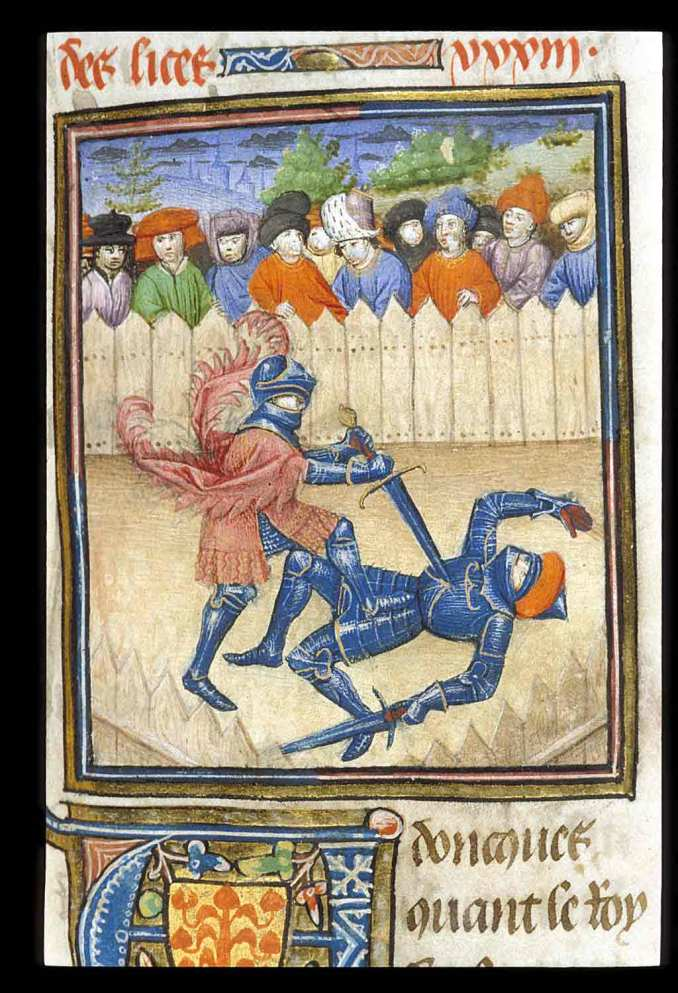 Image of manuscript illumination of two fighters engaged in combat. A field of onlookers watch the combat from behind a picket fence. One fighter is standing above the other who is lying on the ground, impaling a huge sword in his chest.