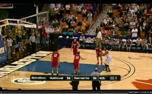 Huntington's Arick Nicks shoots the game-winning free throw with 2.5 seconds remaining on the clock to push the Highlanders to a 55-54 win over Hurricane in the 2014 state championship game. (screen grab via MetroNews telecast)