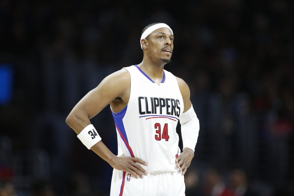 Los Angeles Clippers' Paul Pierce stands on the court against the Milwaukee Bucks during the second half of an NBA basketball game, Wednesday, Dec. 16, 2015, in Los Angeles. The Clippers won 103-90. (AP Photo/Danny Moloshok)
