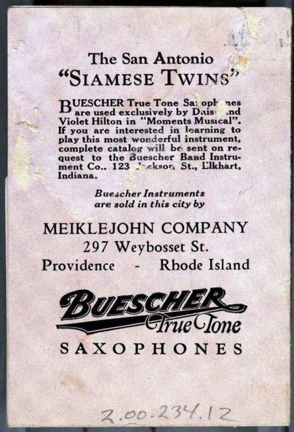 brochure back page, Bob Hope's 1926 Vaudeville Tour, conjoined twins, daisy and violet hilton, Buescher True Tone saxophone ad