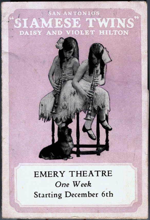 brochure cover page, Bob Hope's 1926 Vaudeville Tour, conjoined twins, daisy and violet hilton, soprano saxophones
