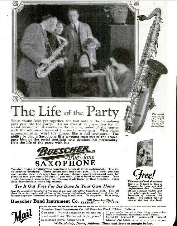 vintage ad, 1925 Buescher True Tone saxophone advertisement, men and women around a piano, C melody saxophone