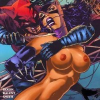 bat man grasping on cat woman from behind fucking her hard...ramming her..and she moaning in ectasy