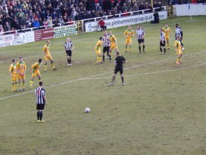 Bath City and North Ferriby United drew 2-2 in the first leg of their FA Trophy semi final
