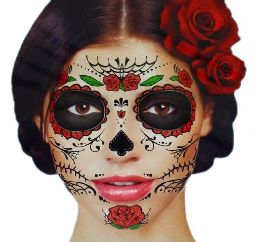 Style me quick halloween face tattoos bath and body for Face tattoo makeup