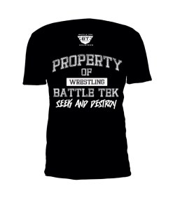 Black Property Of Battle Tek Lightweight 100% Micro Mesh Polyester Performance Tee - Front View Makes The Statement: Seek And Destroy