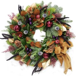 Plum Magnolia Wreath