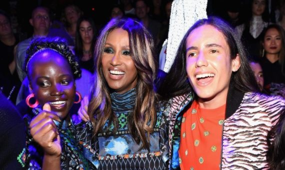 Lupita Nyong'o, Iman, and Xiuhtezcatl Martinez dance at the KENZO x HM Launch Event
