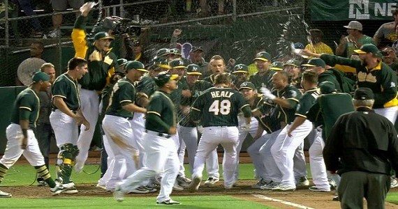 Healy and the Athletics' celebrate. Getty Images.